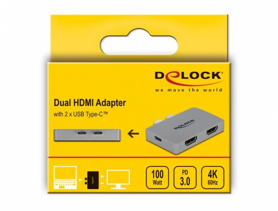 Imagine Adaptor pentru MacBook 2 x USB type C la 2 x HDMI 4K60Hz + 1 x USB-C PD 100W, Delock 64123