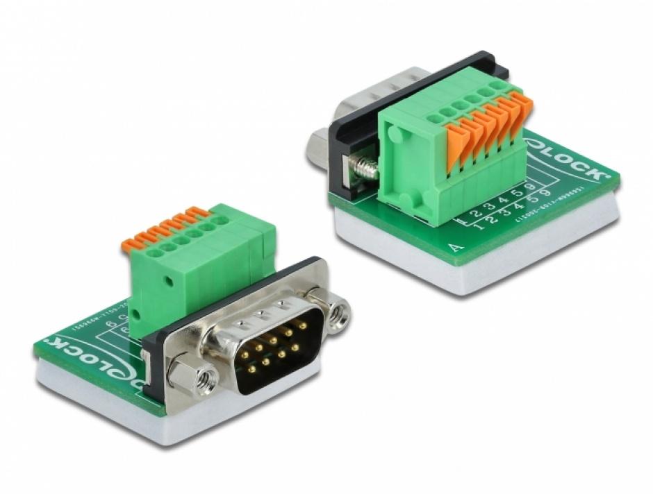Imagine Bloc terminal D-Sub 9 pini tata cu Push button vertical, Delock 66554