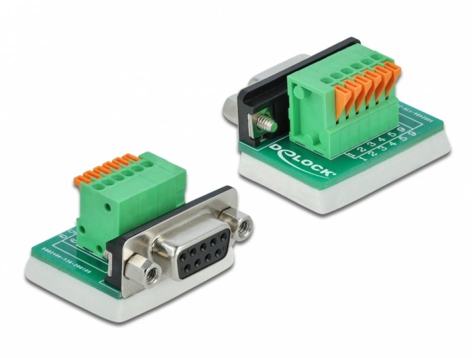 Imagine Bloc terminal D-Sub 9 pini mama cu Push button vertical, Delock 66556