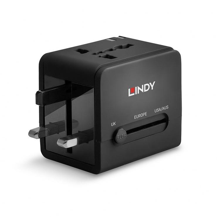 Imagine Incarcator priza cu adaptoare universale cu 2 x USB Negru, Lindy L73110