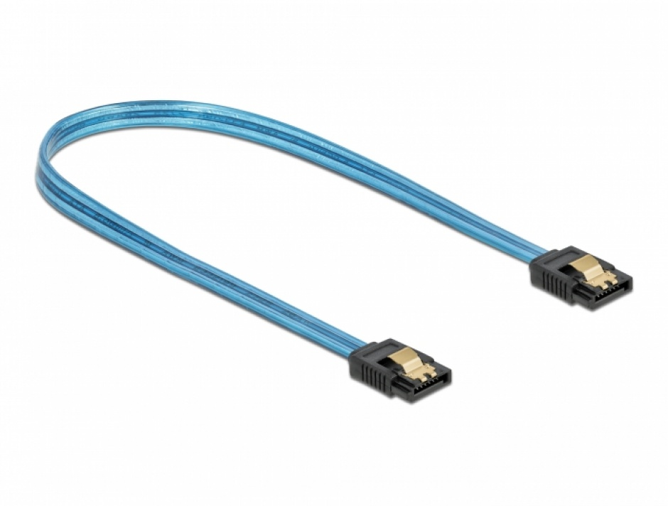 Imagine Cablu SATA III 6 Gb/s UV glow effect 70cm Albastru, Delock 82133