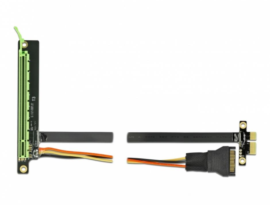 Imagine Riser Card PCI Express x1 la x16 + cablu flexibil 30cm, Delock 85762