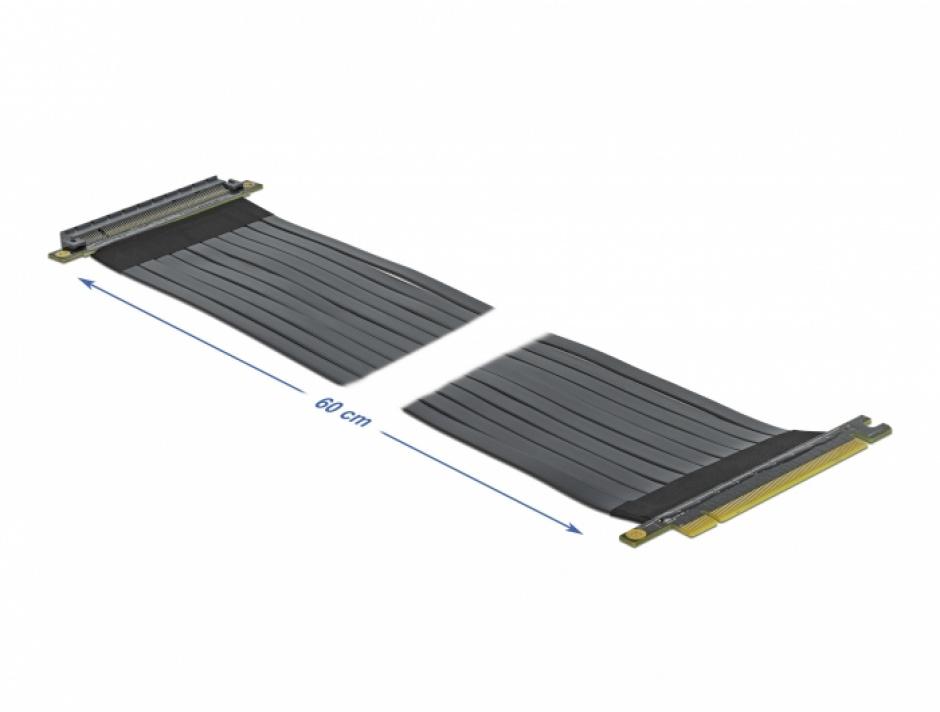Imagine Riser Card PCI Express x16 la x16 + cablu flexibil 60cm, Delock 85765