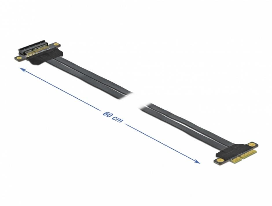 Imagine Riser Card PCI Express x4 la x4 + cablu flexibil 60cm, Delock 85769