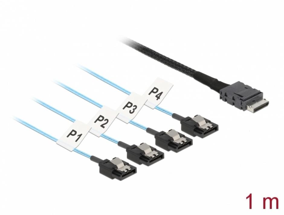 Imagine Cablu OCuLink SFF-8611 la 4 x SATA 7 pini 1m, Delock 85829