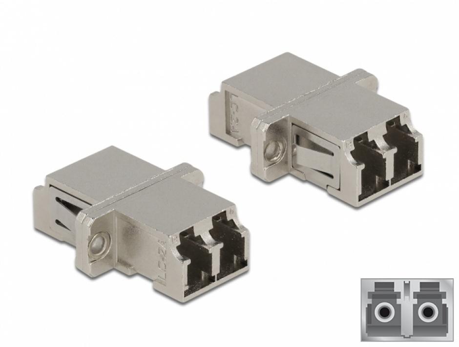 Imagine Cupla fibra optica LC Duplex - LC Duplex Single mode M-M metal, Delock 86874