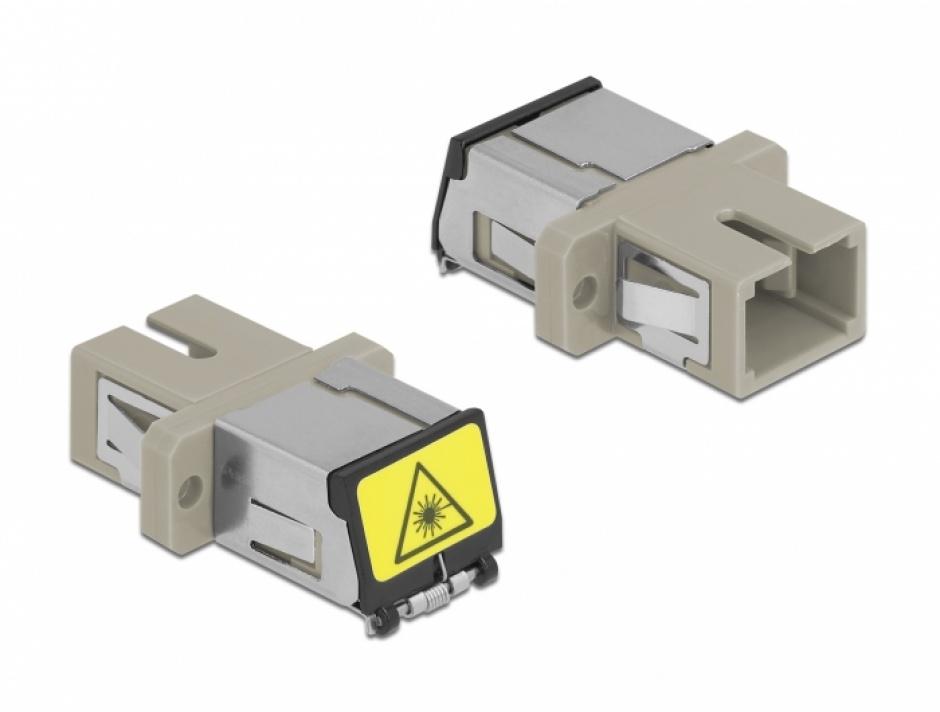 Imagine Cupla fibra optica cu protectie laser SC Simplex Multi-mode OM1/OM2 M-M Bej, Delock 86889