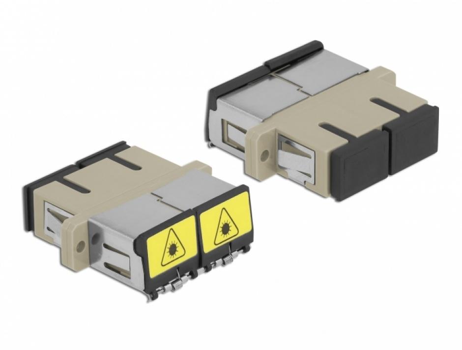 Imagine Cupla fibra optica cu protectie laser SC Duplex Multi-mode OM1/OM2 M-M Bej, Delock 86894