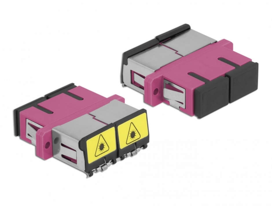 Imagine Cupla fibra optica cu protectie laser SC Duplex Multi-mode OM4 M-M Violet, Delock 86896