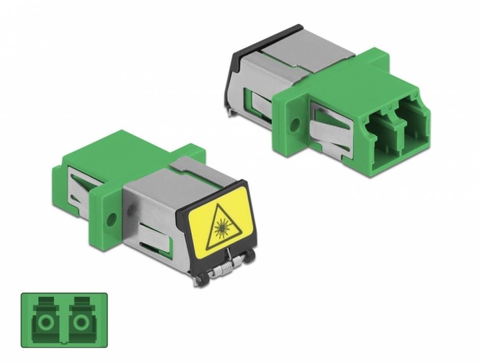 Imagine Cupla fibra optica cu protectie laser LC Duplex Single-mode M-M Verde, Delock 86897