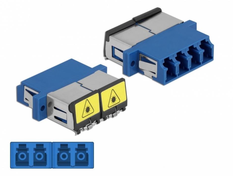 Imagine Cupla fibra optica cu protectie laser LC Quad Single-mode M-M Bleu, Delock 86903