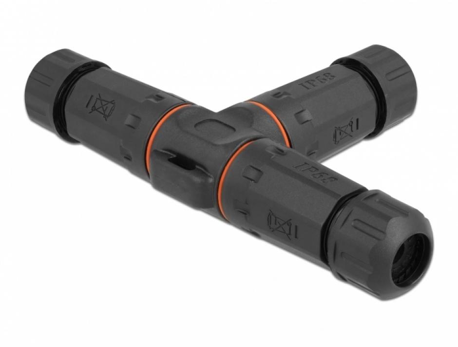 Imagine Cupla in T pentru 3 x cablu electric 4.5 - 7.5mm IP68 exterior, Delock 86917