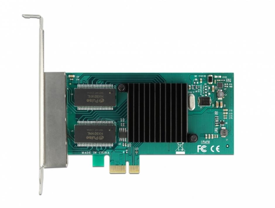 Imagine Placa PCI Express la 4 x Gigabit LAN Intel i350, Delock 88504