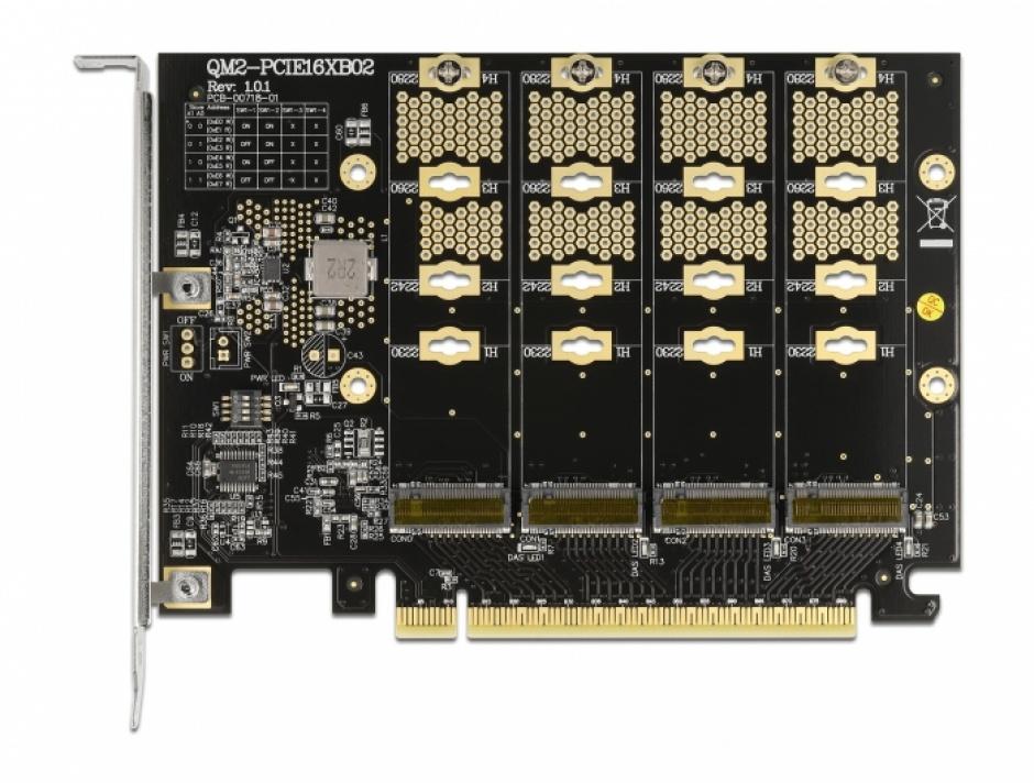 Imagine PCI Express cu 4 x NVMe M.2 Key M - Bifurcation, Delock 89017