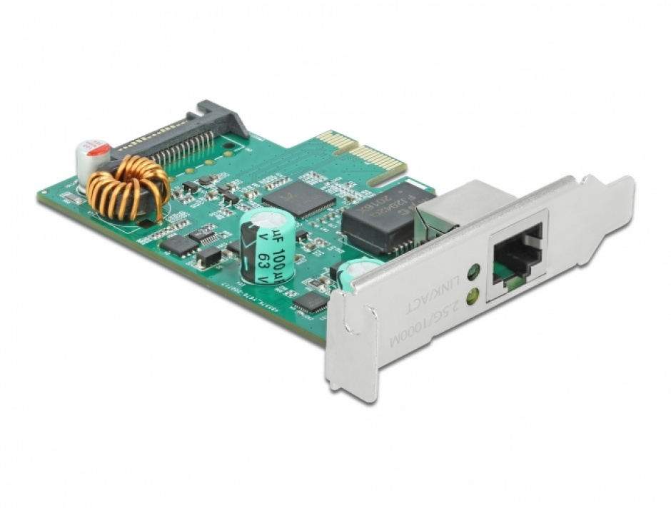 Imagine PCI Express x1 la 1 x RJ45 2.5 Gigabit LAN PoE+ RTL8125, Delock 89139