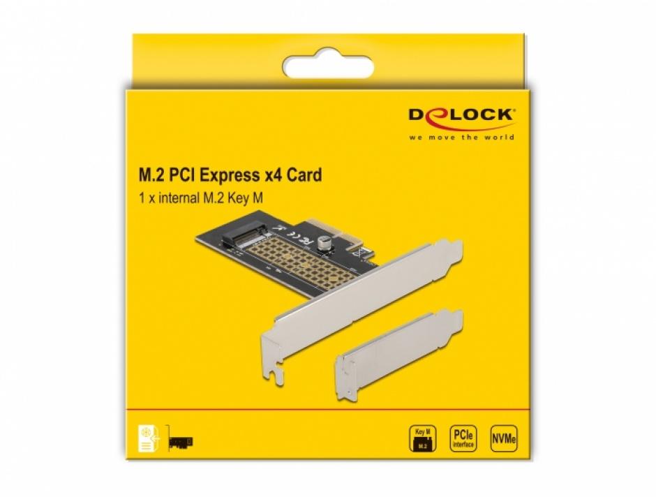 Imagine PCI Express la NVMe M.2 Key M LPFF, Delock 90047