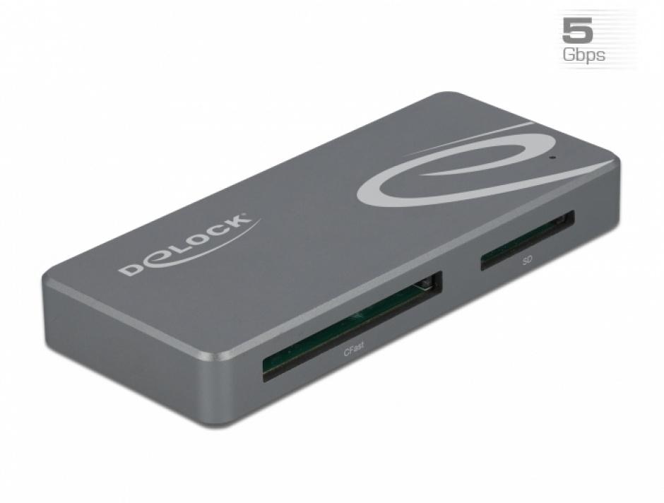 Imagine Cititor de carduri USB-C pentru CFast / SD + HUB, Delock 91754