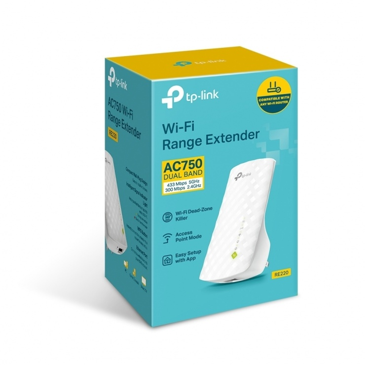 Imagine Range Extender WiFi 750Mbps AC750, TP-LINK RE220