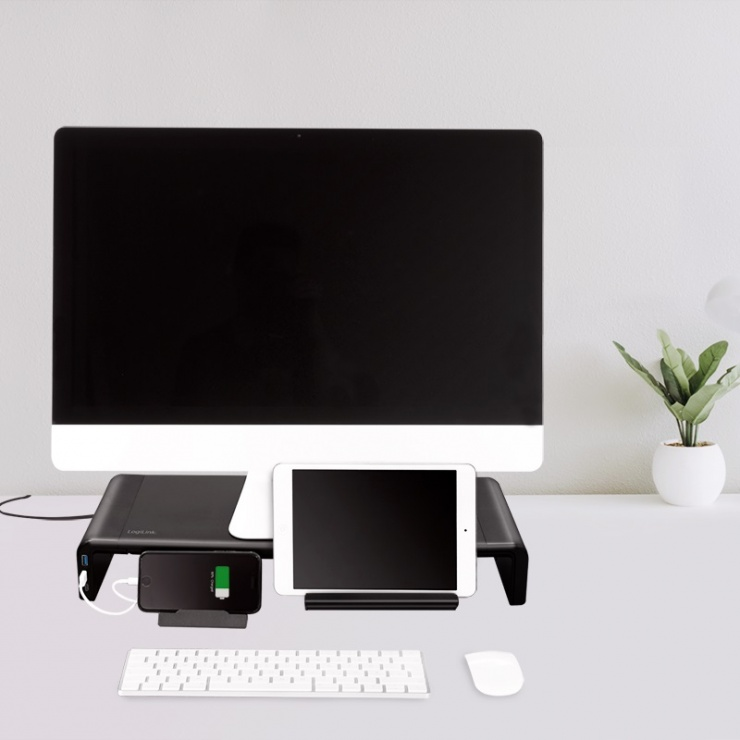 Imagine Suport ergonomic pentru monitor + 2 x USB 3.0+ 1 x USB-C, Logilink BP0141