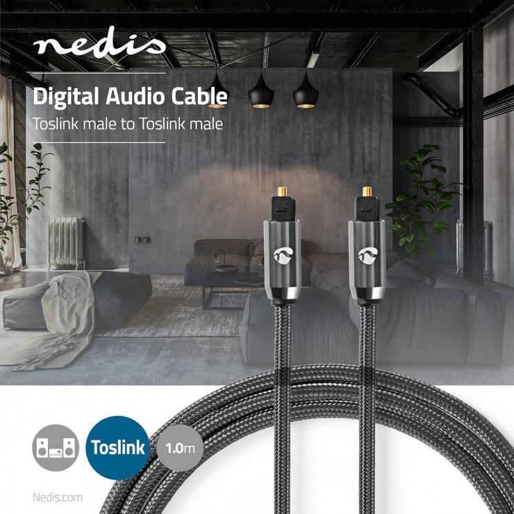 Imagine Cablu audio optic Toslink SPDIF 1m brodat, Nedis CATB25000GY10