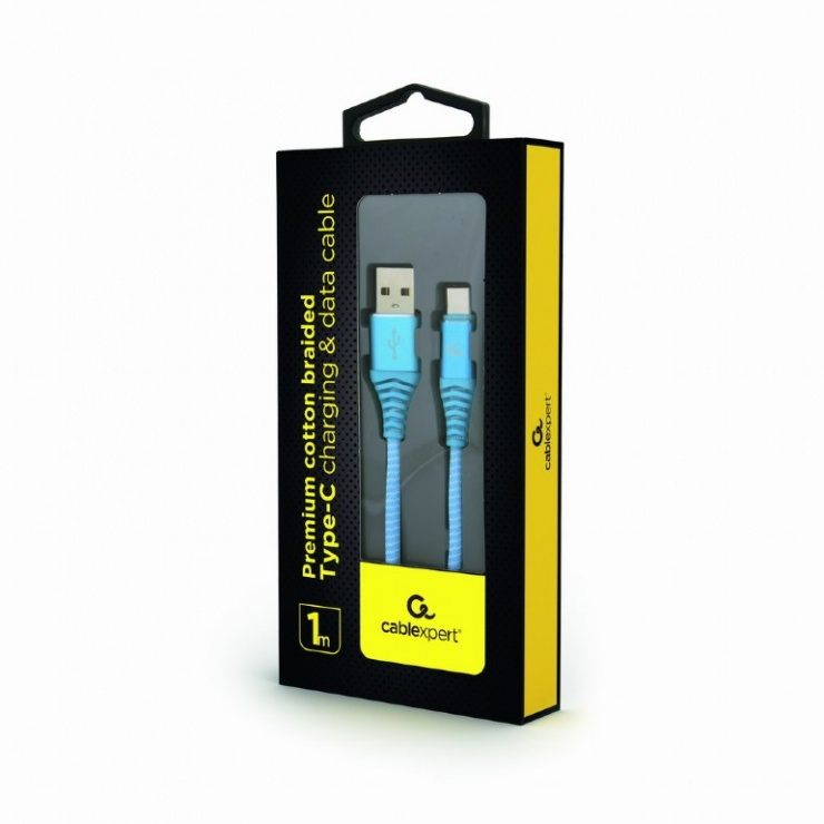 Imagine Cablu USB 2.0 la USB-C Turcoaz brodat 1m, Gembird CC-USB2B-AMCM-1M-VW