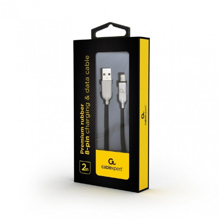 Imagine Cablu USB 2.0 la iPhone Lightning Premium 2m Negru, Gembird CC-USB2R-AMLM-2M