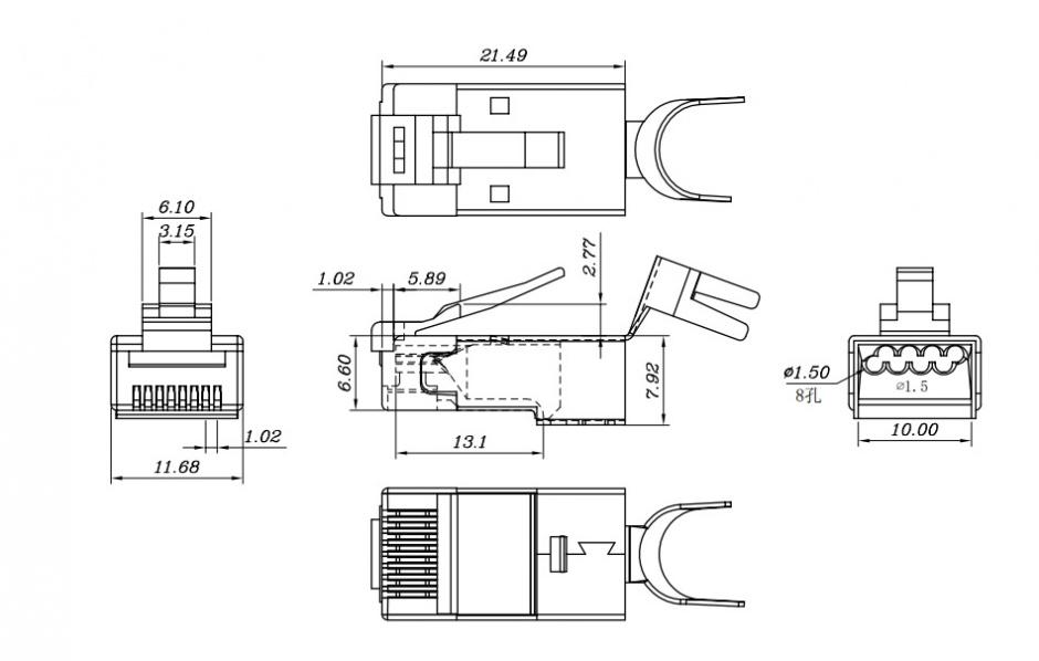 Imagine Set 10 conectori modulari MYCON STP cat 6 fir solid, CON3063