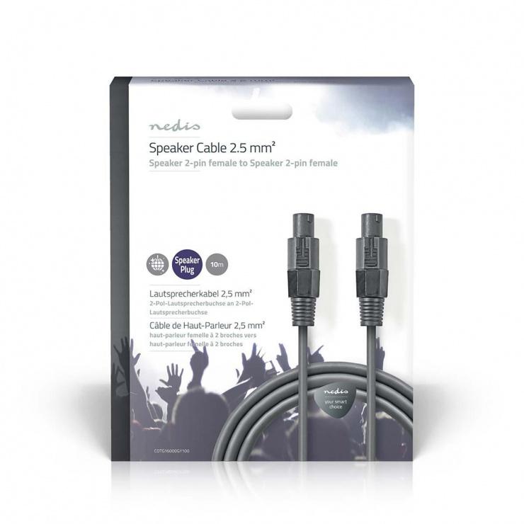 Imagine Cablu audio difuzor 2 pini T-T 10m, Nedis COTG16000GY100