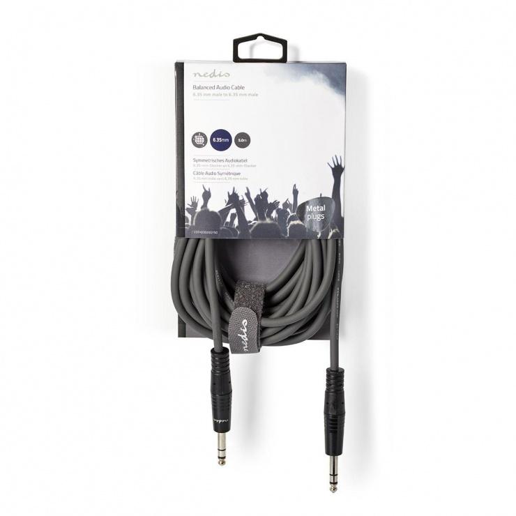 Imagine Cablu audio stereo jack 6.35mm T-T 5m gri, Nedis COTH23020GY50