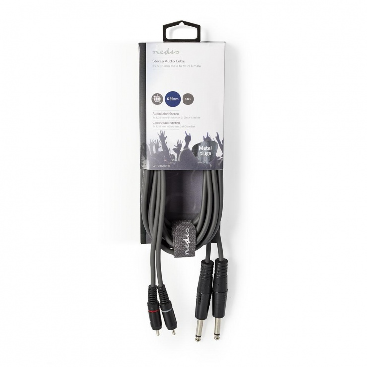 Imagine Cablu audio jack stereo 6.35mm la 2 x RCA T-T 3m, COTH23320GY30