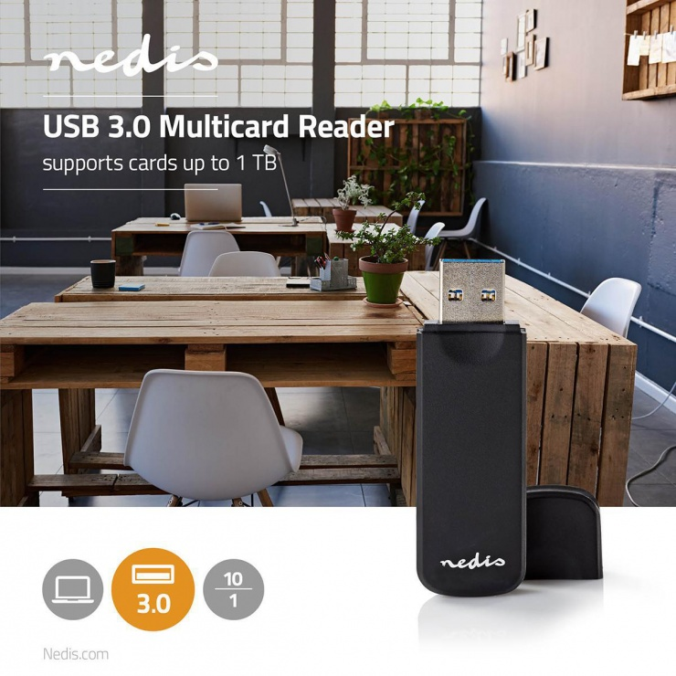 Imagine Cititor de carduri USB 3.2 la microSD/MMC / SD, Nedis CRDRU3100BK