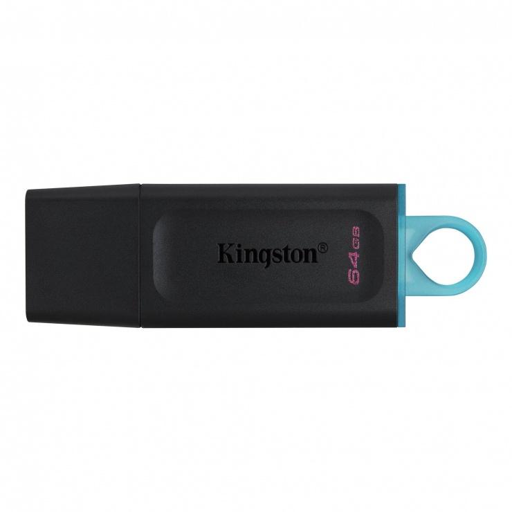 Imagine Stick USB 3.2 Gen1 Data Traveler Exodia 64GB Negru + Turcoaz, Kingston DTX/64GB