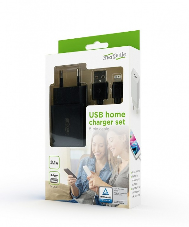 Imagine Incarcator priza 1 x USB-A 5V / 2.1A + cablu USB Lightning, Gembird EG-UCSET-8P-MX-black
