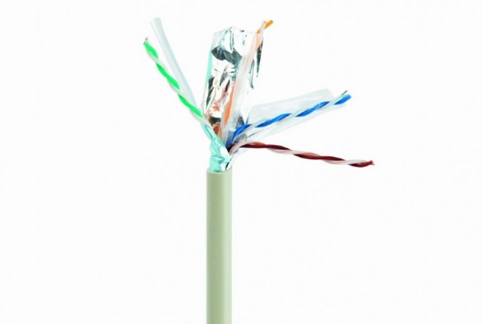 Imagine Rola cablu de retea Cat6 FTP Cu 305m fir solid Gri, Gembird FPC-6004-SO