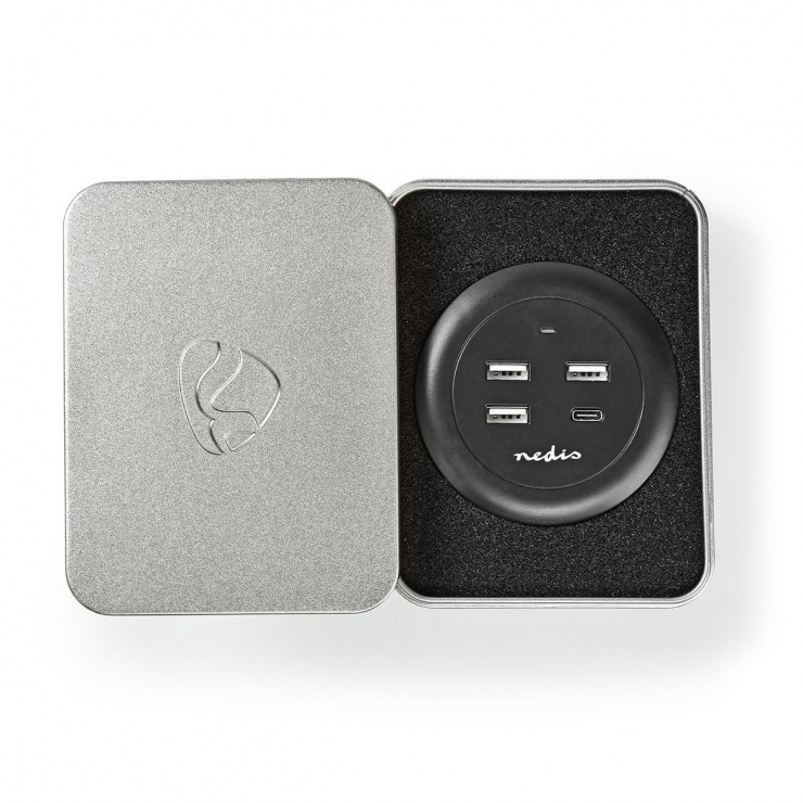 Imagine Incarcator priza 3 x USB-A 2.1A + 1 x USB-C 3A 30W, Nedis FSCSPD100BK