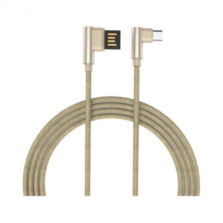 Imagine Cablu micro USB-B la USB 2.0 T-T unghi 90 grade 1m auriu, GC-48 Gold