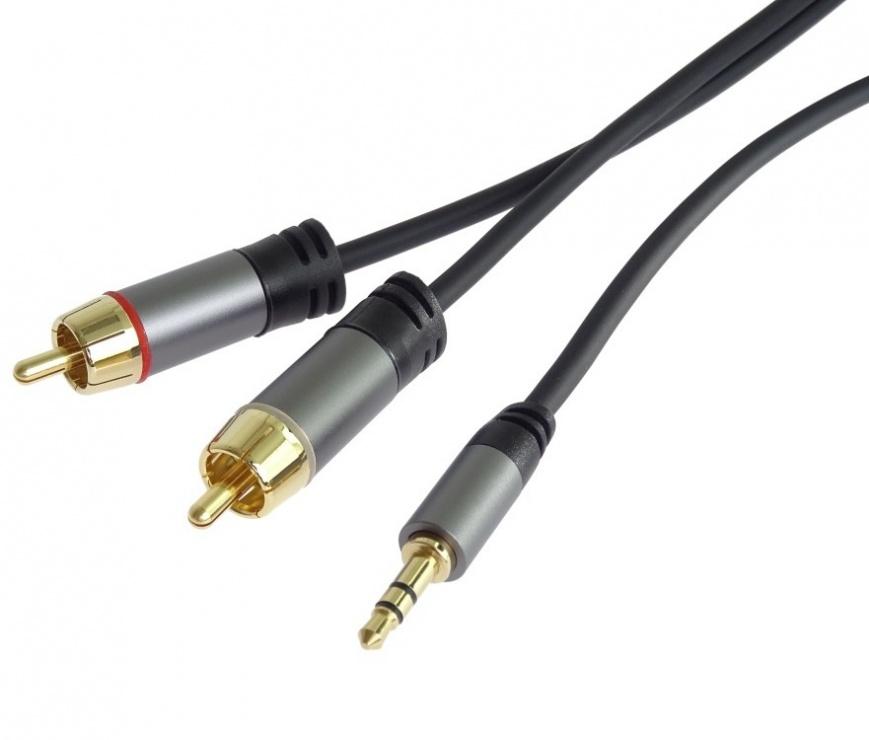 Imagine Cablu audio jack stereo 3.5mm la 2 x RCA T-T 5m, kjqcin5