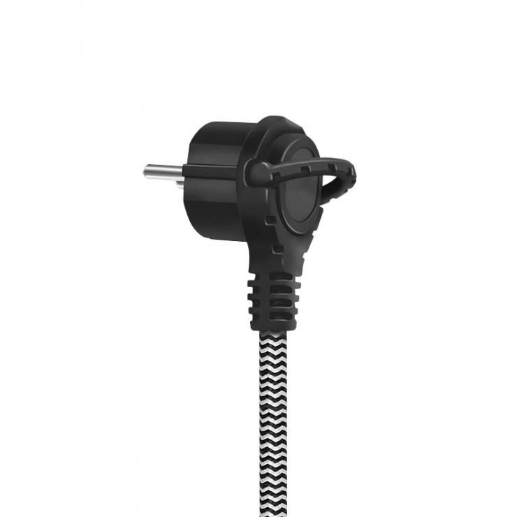 Imagine Cablu prelungitor alimentare Schuko T-M textil 3m, Logilink LPS104