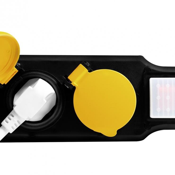 Imagine Prelungitor pentru exterior cu 5 prize Schuko 1.5m 16A + switch ON/OFF, Logilink LPS255