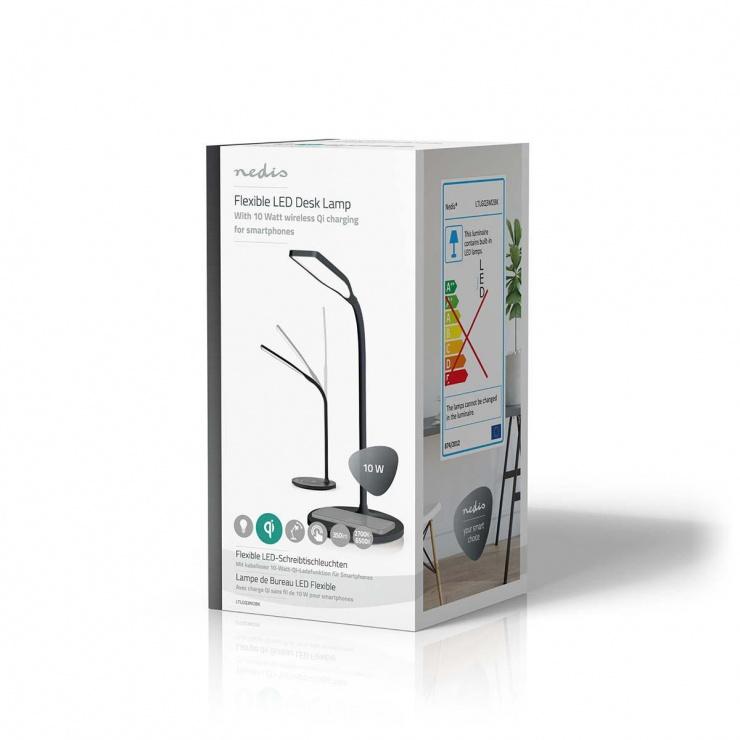 Imagine Lampa LED cu incarcator wireless 10W, Nedis LTLGQ3M2BK