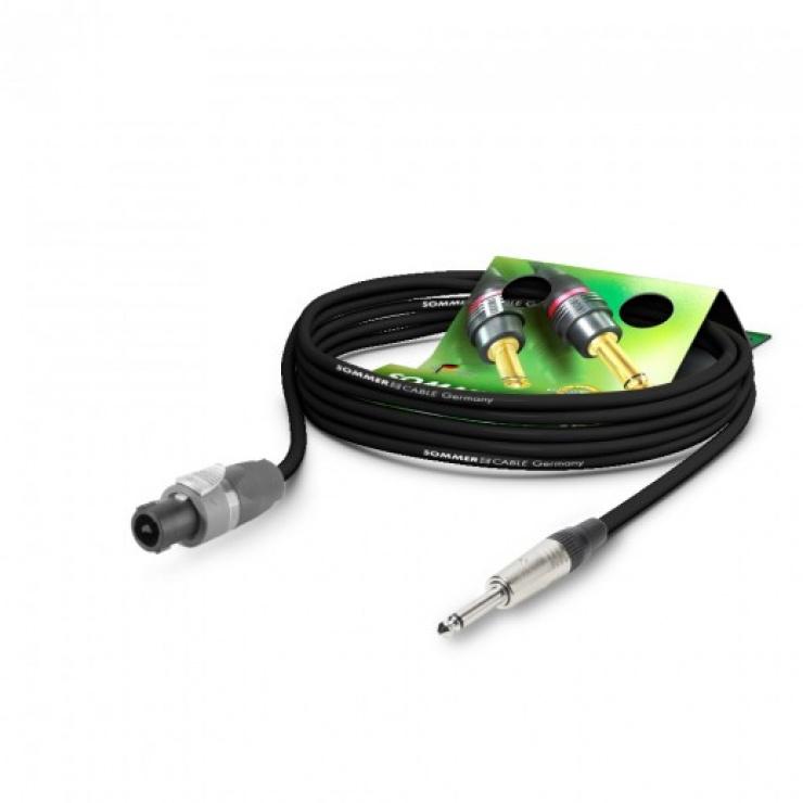 Imagine Cablu audio speakon la jack mono 6.35mm 5m Negru, NEUTRIK ME21-225-0500-SW