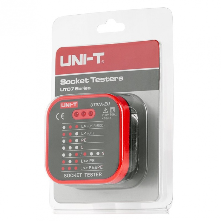 Imagine Tester priza 230V AC UT07A-EU UNI-T, MIE0270