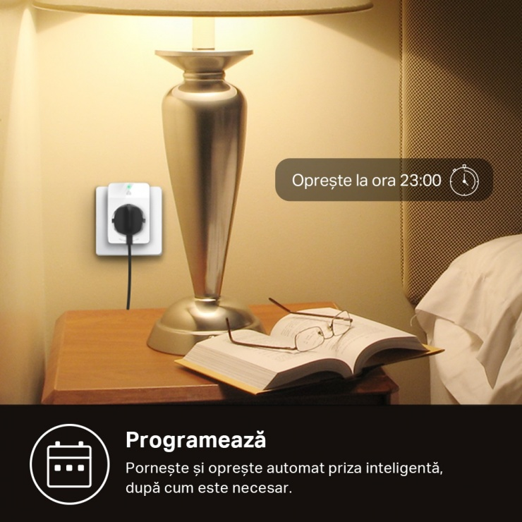 Imagine Priza inteligenta Wi-Fi Slim Kasa Smart 16A cu monitorizarea energiei, TP-LINK KP115