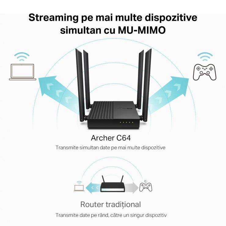 Imagine Router Wireless Dual-Band Gigabit cu MU-MIMO si Beamforming, TP-LINK Archer C64