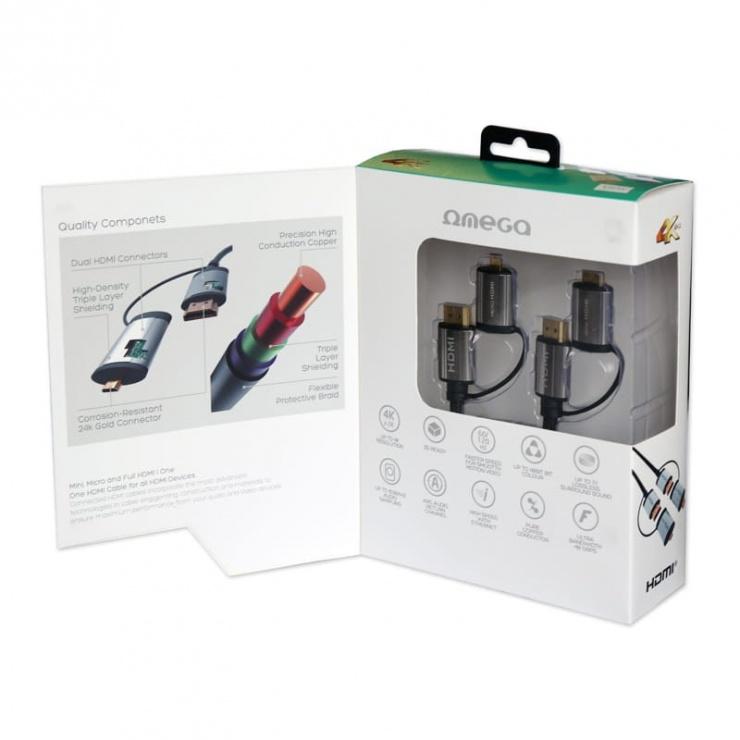 Imagine Cablu HDMI + adaptoare micro HDMI/mini HDMI 1.5m, OCHBA1G