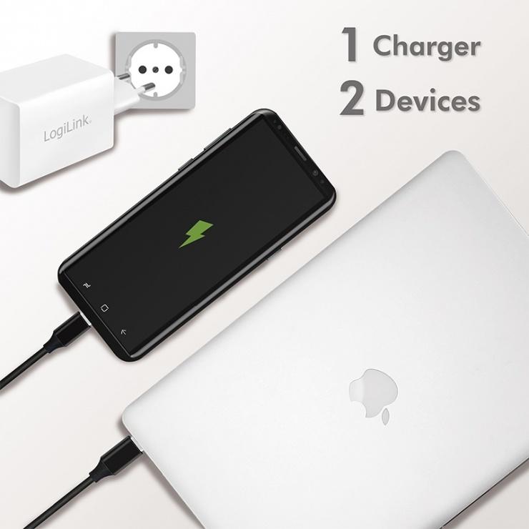 Imagine Incarcator priza 1 x USB-C + 1 x USB-A 3A/45W Alb, Loglink PA0230