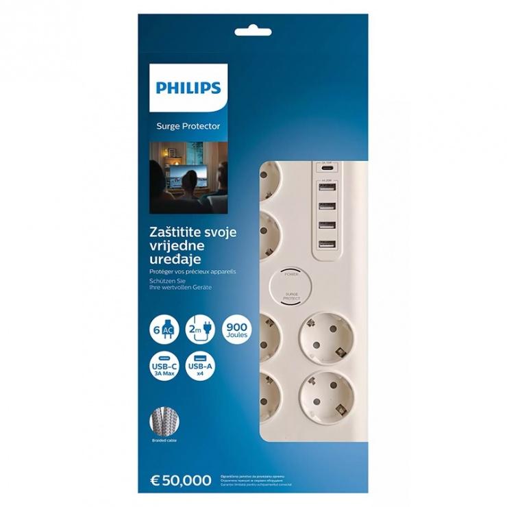 Imagine Prelungitor cu 6 prize Schuko + 4 x USB-A + 1 x USB-C Alb 2m, Phillips PH-SPN7060WA