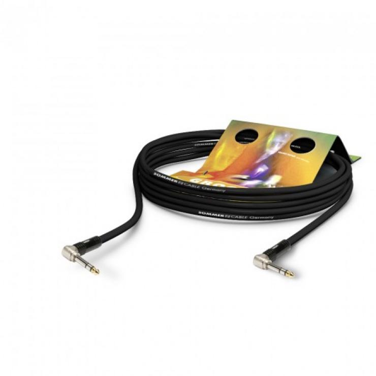 Imagine Cablu audio jack stereo 6.35mm unghi 90 grade 15m, HICON SG3P-1500-SW