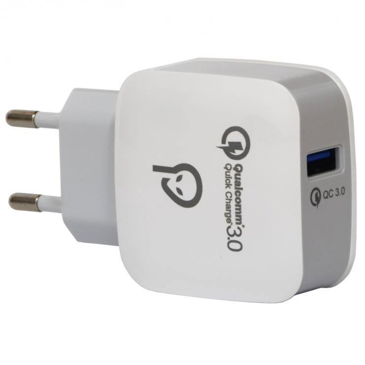 Imagine Incarcator priza 1 x USB-A Quick Charge 3.0 18W, Spacer SPAR-USBQ-01