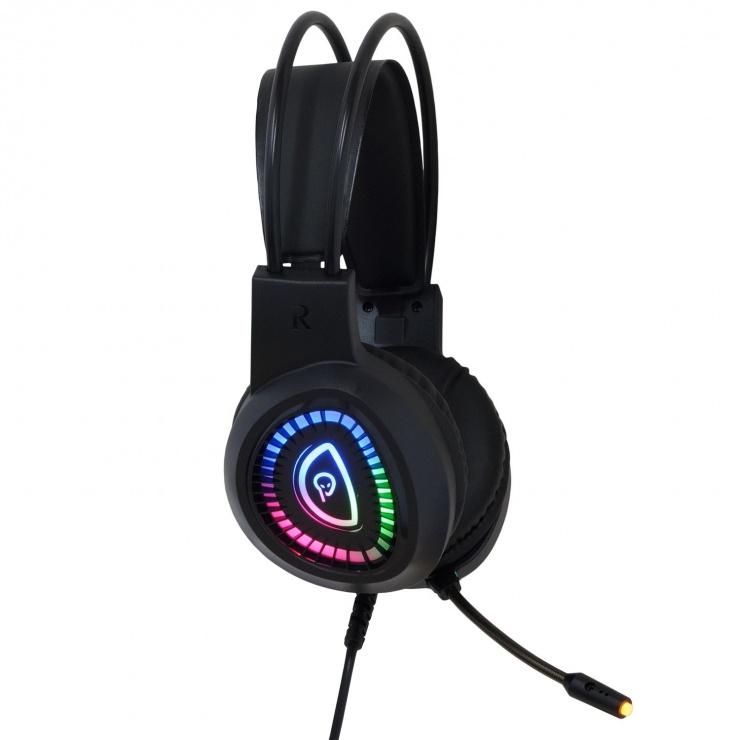 Imagine Casti cu fir Gaming USB & Jack 3.5 mm RGB, Spacer SPGH-PHANTOM